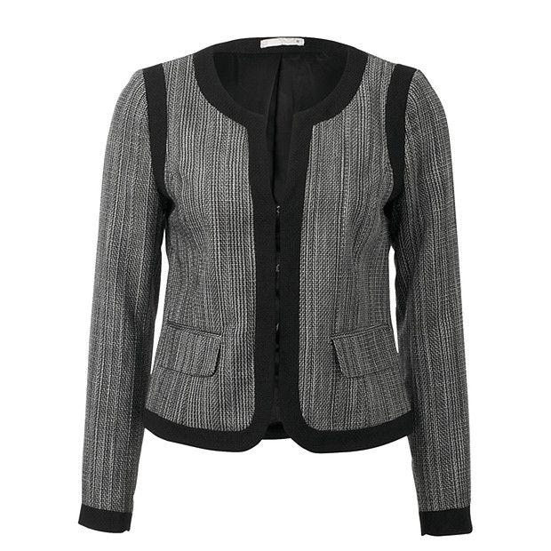 City Dressing Textured Collarless Jacket
