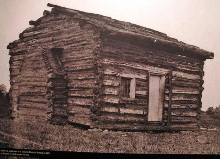 Photo of the old cabin claimed to be Abraham Lincoln's Birthplace:  ~   Lincoln's Birthplace, Hodgenville, Kentucky - (Travel Photos by Galen R Frysinger, Sheboygan, Wisconsin)