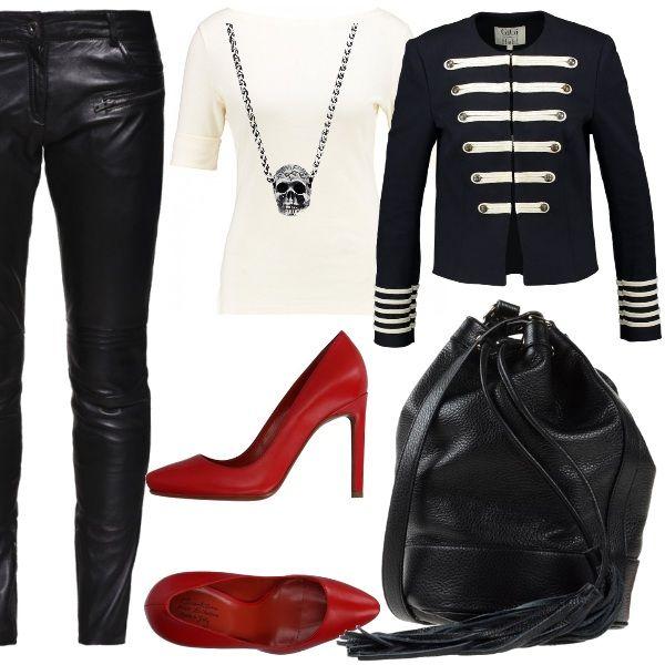 Come+Gigi+Hadid+anche+noi+possiamo+essere+irresistibili.+I+pantaloni+di+pelle+daranno+grinta+alla+giacca+stile+marina,+le+scarpe+rosse+daranno+il+tocco+di+colore+all'intero+look.+Ultimo+dettaglio:+la+collana+teschio+evocherà+le+fantastiche+avventure+dei+pirati.