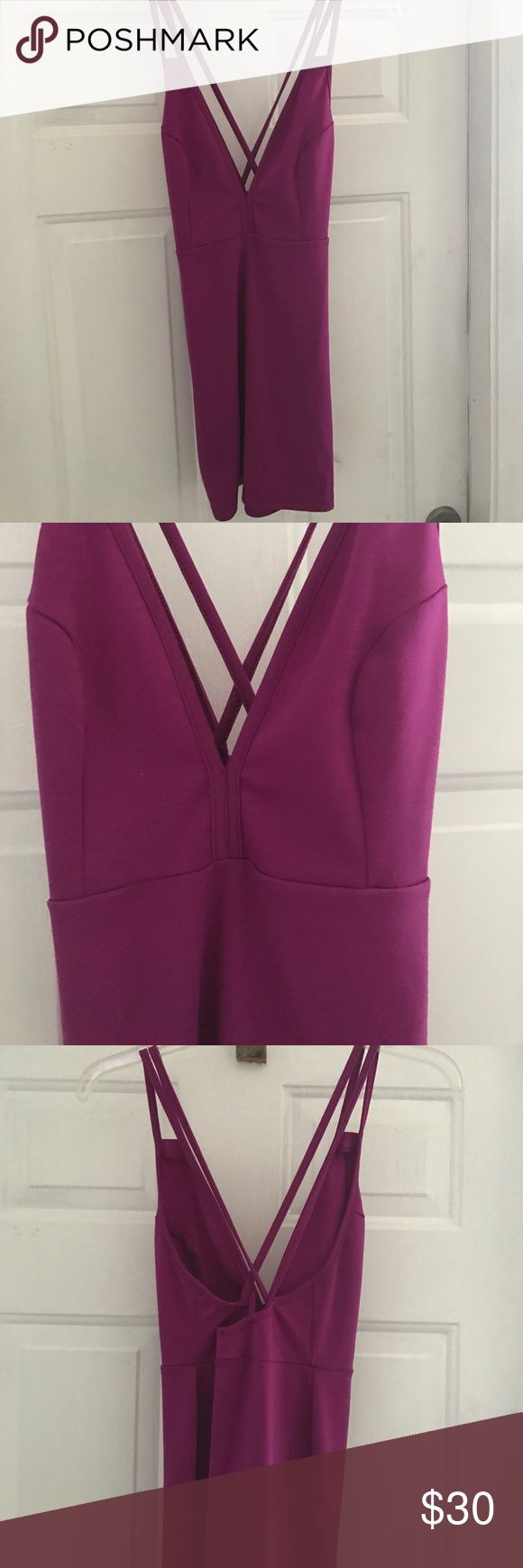 Purple mini dress Purple mini dress. Low cut in the front with crisscrossing in the back Nasty Gal Dresses Mini