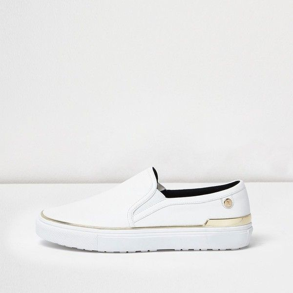 River Island White wide fit slip on plimsolls ($48) ❤ liked on Polyvore featuring shoes, sneakers, plimsolls / sneakers, shoes / boots, white, women, white slip on shoes, slip-on shoes, wide slip on shoes and slip on sneakers