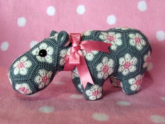 Hippo Toy entirely made from African Flower Hexagons :)