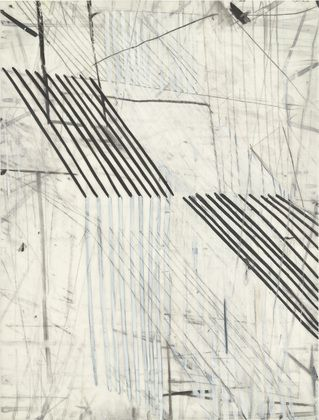 """Eve Aschheim, Stretch (1998), Gesso, crayon, and pencil on synthetic polymer sheet, 12 x 9"""" (30.5 x 22.9 cm)"""