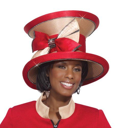 Lovely Ladies Tan and Red Church Hat by Donna Vinci H2132 ...