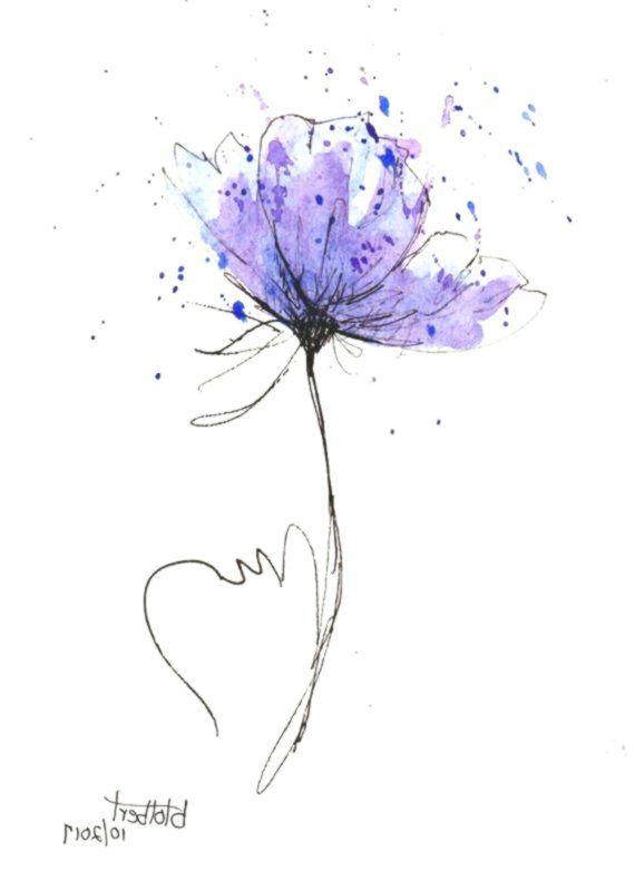 Mohnblumen Blumen Wasser Farbhandgemalte Ursprungliche Aquarell Kunst Malerei Blumenmalen Blumen Zeichnen Zeichnen Mit Bleistift Lila Blumen