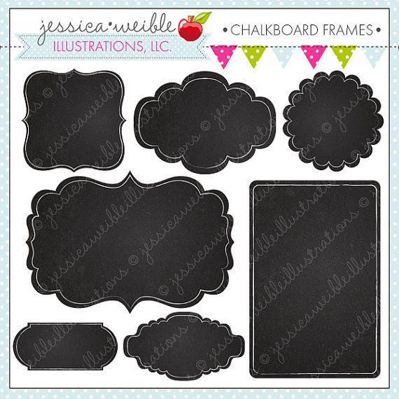Chalkboard Frames - Cute Digital Clipart for Commercial and Personal Use, Frames Clipart, Chalkboard on Etsy, $5.00