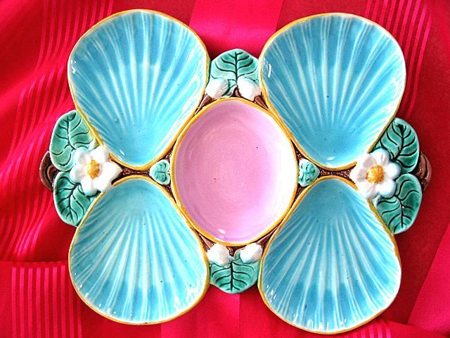 Minton or Holdcroft oyster plate ~ turquoise with pink center ~ unmarked ~ circa 1800s ~ English