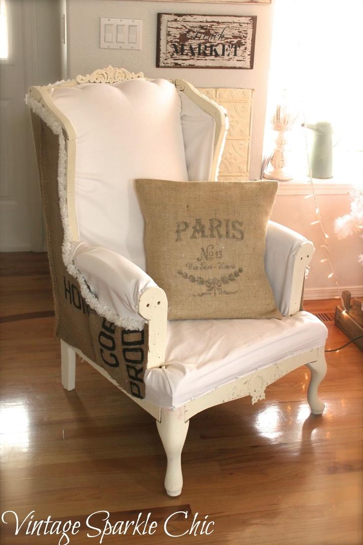 Vintage Sparkle Chic: Shabby Chair redo with burlap grain sack