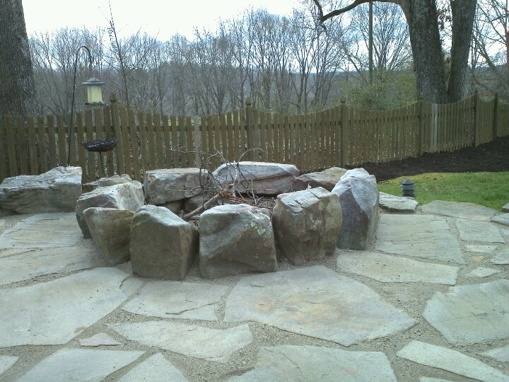Fire Pit With Flagstone Using Gator Dust Joint Filler Hardscapes Pinteres