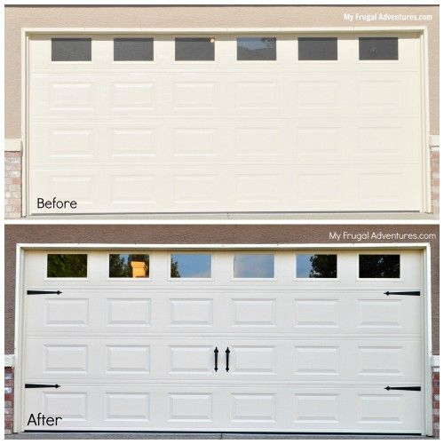 Many DIY home stores such as Home Depot & Lowes carry these decorative hardware straps for your garage door for about $35. They make a plain boring garage door look like a fancy carriage door at a fraction of the price.