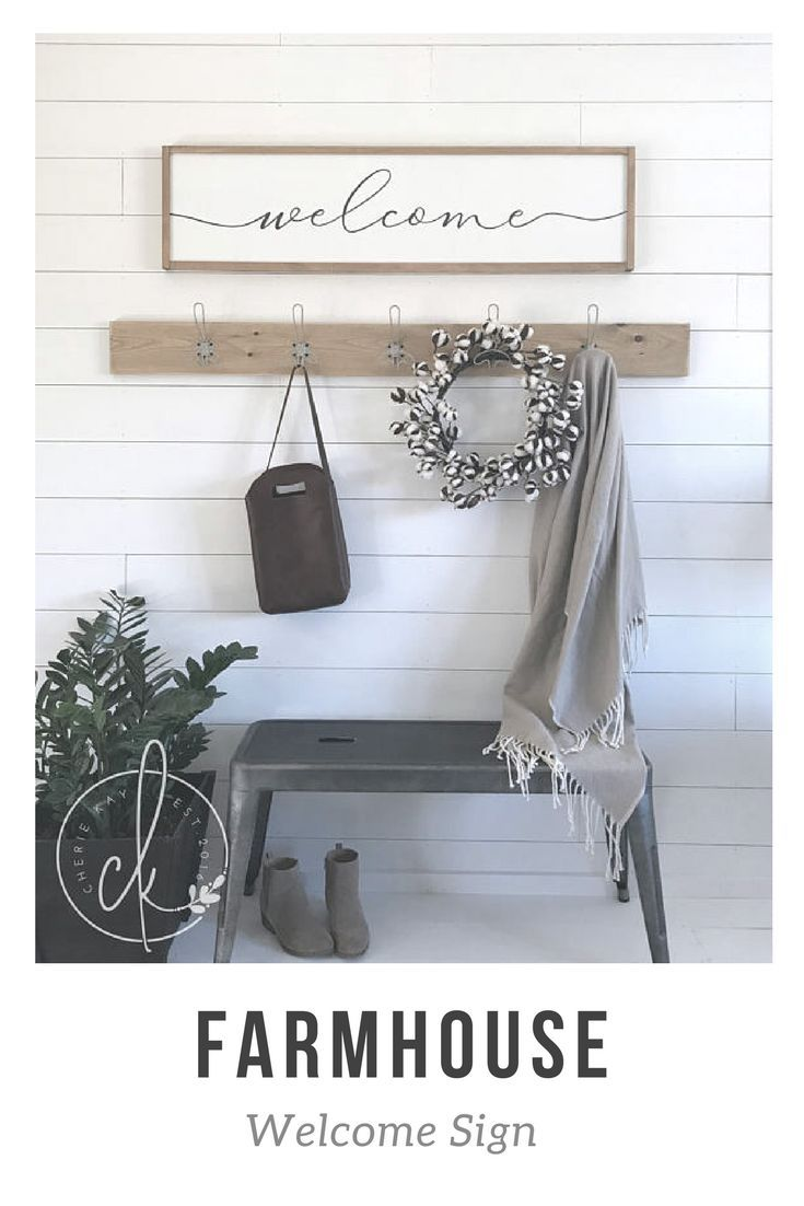 I Love This Simple Welcome Sign For The Entryway Or Mudroom It Is The Perfect Farmhouse Sign And Goes Really Wall Decor Outdoor Wall Decor Entryway Wall Decor