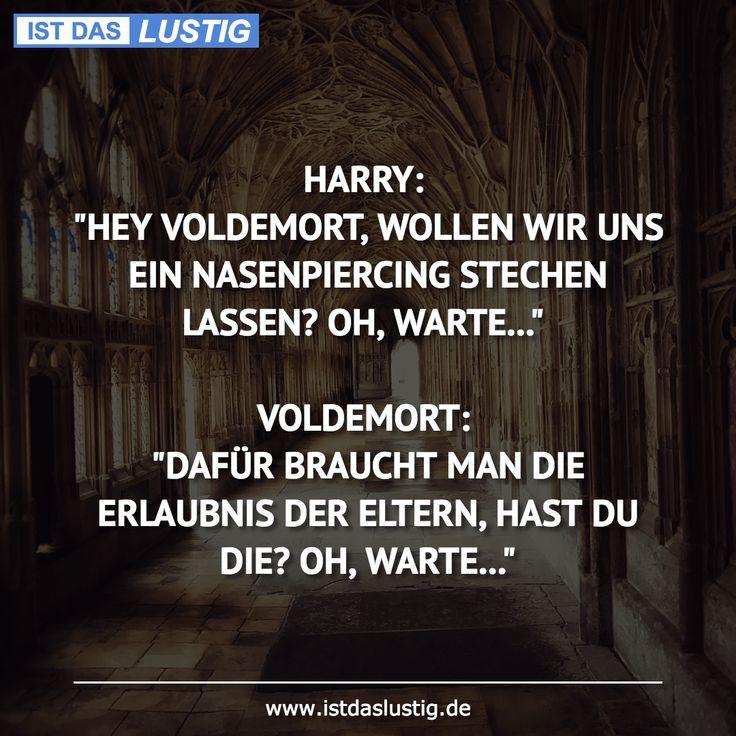 """HARRY: """"HEY VOLDEMORT, WOLLEN WIR UNS EIN NASENPIERCING STECHEN LASSEN? OH, WARTE…""""  VOLDEMORT: """"DAFÜR BRAUCHT MAN DIE ERLAUBNIS DER ELTERN, HAST DU DIE? OH, WARTE…"""""""