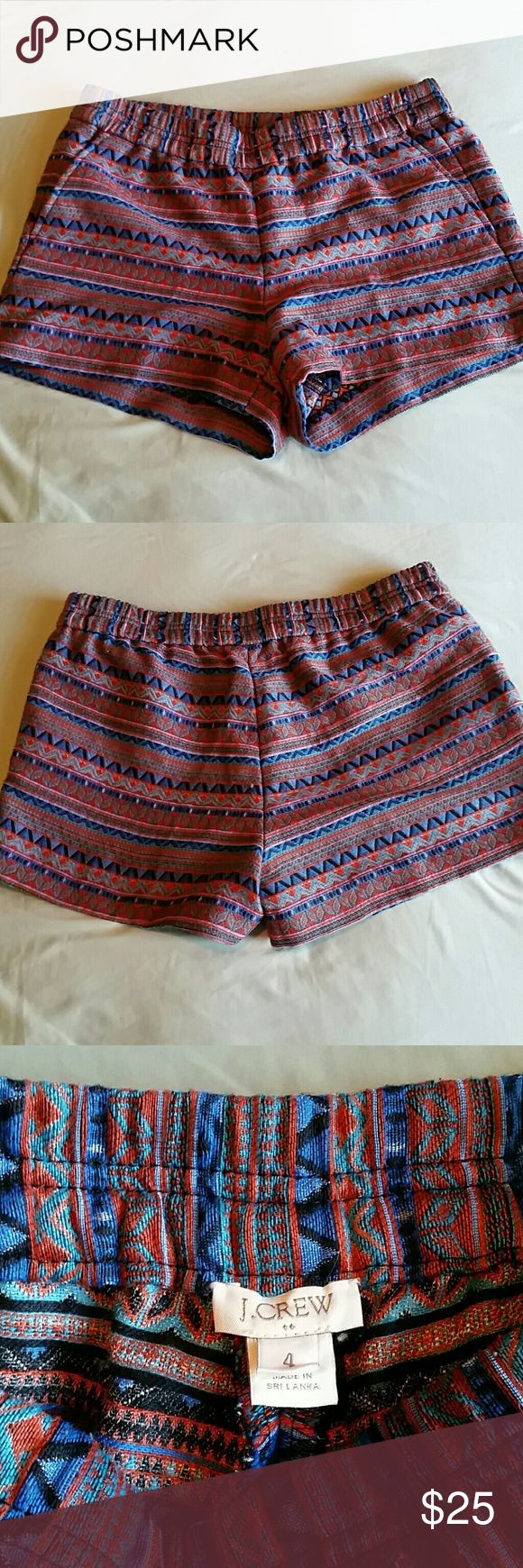 """J Crew Multi Color Shorts size 4 These have pockets and are super cute! 11.5"""" long, 3"""" inseam J. Crew Shorts"""