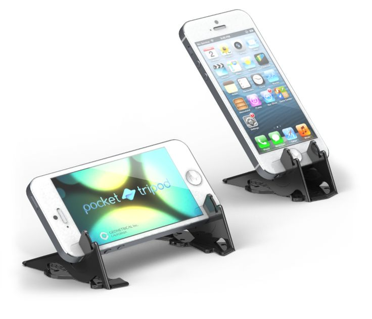 Pocket Tripod holds the iPhone in both portrait and landscape, in any angle.
