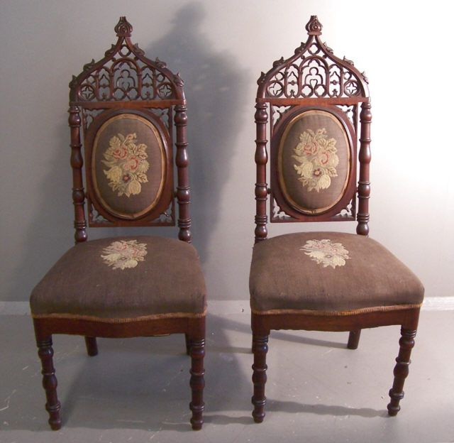 Alexander Roux Gothic Carved Walnut Side Chairs C1845