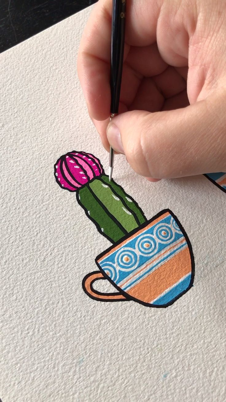Gouache Painting a Little Cup Of Cacti
