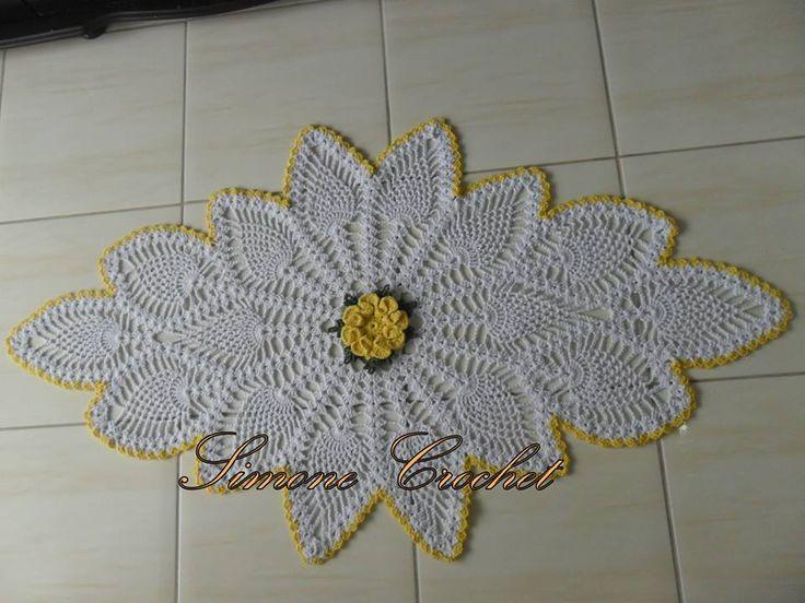 tapete com flor central ponto abacaxi mm artesanatos tafel kleit pinterest tapetes. Black Bedroom Furniture Sets. Home Design Ideas