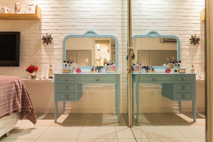 Decoração - Ideias para Penteadeiras Charmosas - penteadeira verde água, azul, rosa. Veja mais no blog!