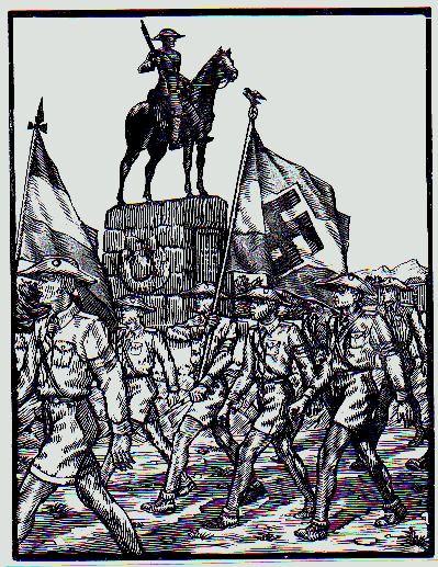 Tag der deutschen Jugend Afrikas, 1934, Holzschnitt von J. Voigts mit dem Windhoeker Reiterdenkmal. Nach 1933 wurde bei den Gedenkfeiern die Hakenkreuzfahne mitgeführt. Das Vorzeigen nationalsozialistischer Symbole diente vor allem auch der Abgrenzung gegenüber den regierenden Buren. Die überwiegende Mehrheit der Südwester-Deutschen bekannte sich mit großer Begeisterung zum Nationalsozialismus, dessen Volkstumpropaganda und Herrenmenschenideologie die alten Kolonialträume beflügelte.
