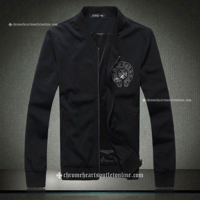 Black Chrome Hearts Rhinestones Horseshoe & Cross Jackets