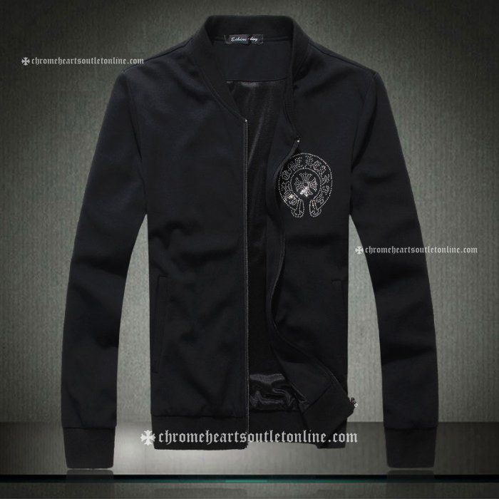Black Chrome Hearts Rhinestones Horseshoe & Cross Jackets