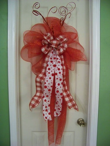 Valentines Red White Plaid Polka Dot Deco Mesh Bow Door Wreath | eBay