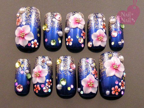 blue kimono with cherry blossoms nail design