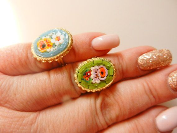 A special pair of micro mosaic rings ITALY signed by RAKcreations