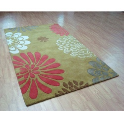 Add luxurious style to your home decor with a Giant Flowers area rugCustom dyed, hand-tufted and hand-carved yarns make rug into floor artContemporary rug features blended 100-percent wool pilehttp://www.overstock.com/Home-Garden/Hand-tufted-Giant-Flowers-Green-Wool-Rug-5-x-8/4453064/product.html?CID=214117 $166.99