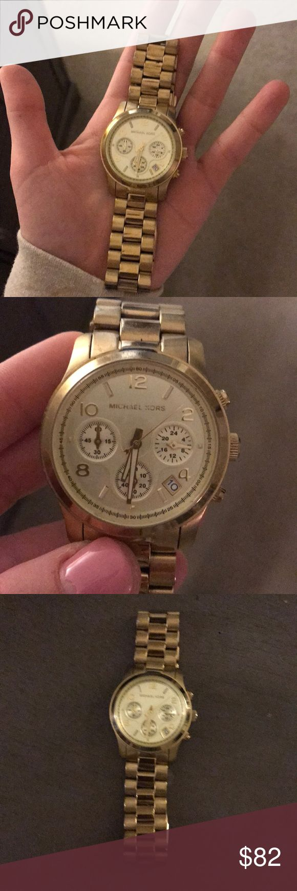 Michael khors gold watch Michael khors gold watch ! Classy outfit staple ! Gently used with some normal wear. Only needs new battery! KORS Michael Kors Accessories Watches