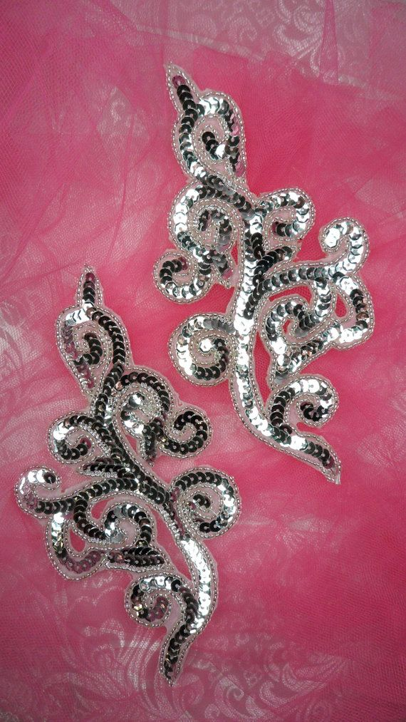 Sequin Applique MIRROR PAIR Silver Scroll Patch Measures: 7 x 3.25 each Use for any of your craft projects. Sew on or glue on. Blessings from