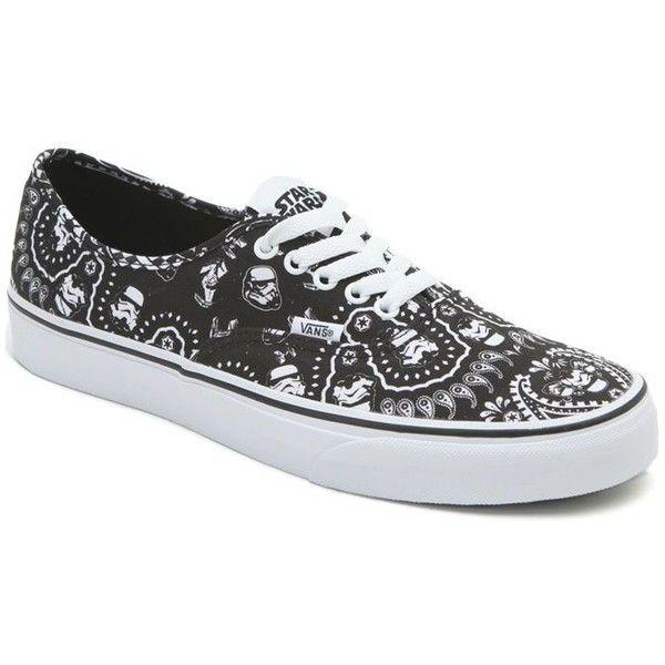 Vans x Star Wars Authentic Storm Trooper Shoes ($35) ❤ liked on Polyvore featuring men's fashion, men's shoes, men's sneakers, black, mens low profile shoes, vans mens shoes, mens lace up shoes, mens black shoes and mens leopard print shoes