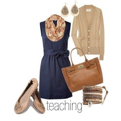 Love the colors - dressy casual.  Sweater and scarf would go with my blue dress