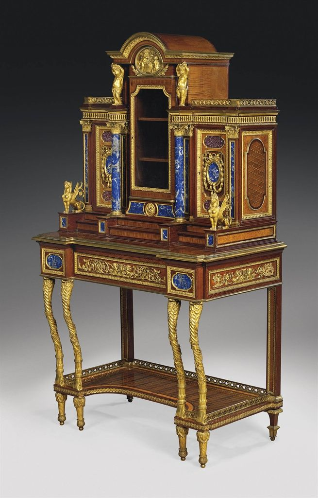 A FINE FRENCH ORMOLU, PORPHYRY AND LAPIS LAZULI-MOUNTED SATINWOOD, BURR-MAPLE AND MAHOGANY PARQUETRY VITRINE-CABINET-ON-STAND - ATTRIBUTED TO MAISON MILLET, PARIS, LATE 19TH CENTURY