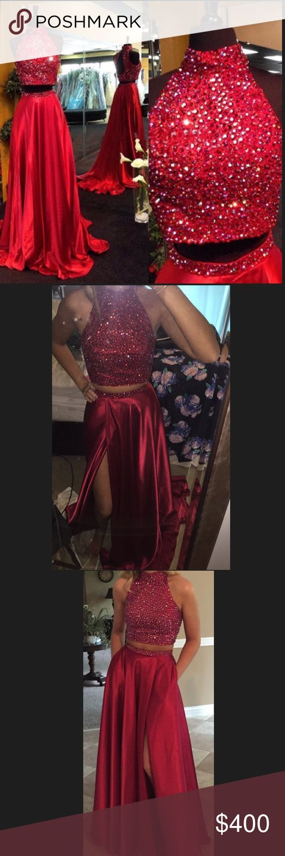 Sherri hill prom dress Red Sherri hill dress, perfect condition. Only worn once. Two piece, slit in the skirt and pockets! Sherri Hill Dresses Prom