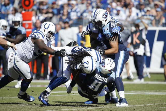 Colts vs. Titans  -  26-34, Colts:  October 23, 2016  -   NASHVILLE, TN - OCTOBER 23: Erik Walden #93 of the Indianapolis Colts sacks Marcus Mariota #8 of the Tennessee Titans in the second quarter of the game at Nissan Stadium on October 23, 2016 in Nashville, Tennessee. (Photo by Joe Robbins/Getty Images)