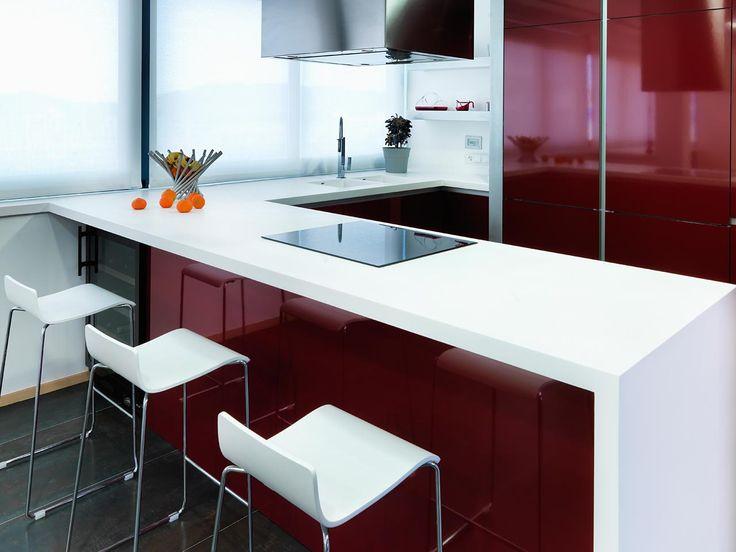 111 best Cuisine images on Pinterest Kitchens, Black glass and - plan de travail cuisine rouge
