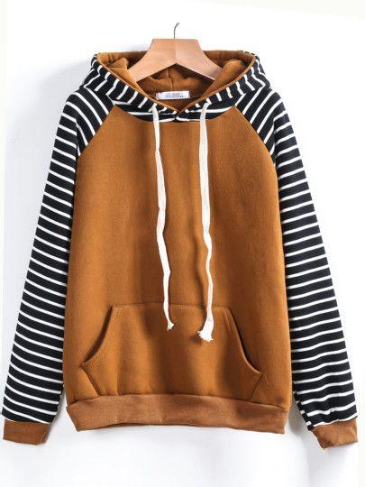Sweat-shirt à capuche à rayures manches raglans contrasté