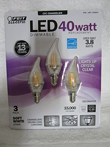 Feit Electric  LED Candelabra Chandelier Dimmable Light bulbs 40w  38w 3 pack