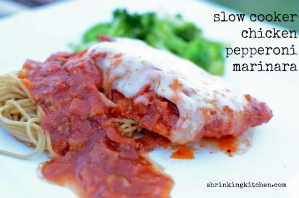 Our Slow Cooker Chicken Pepperoni Marinara is an awesome dish to come home to on a cold night! #chicken #healthy #recipe #slowcooker from shrinkingkitchen.com