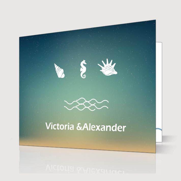Einladungskarte Hochzeit Comic Strand Muschelschale Welle p OPB248 Romantische Sommerhochzeit am Strand in Blau & Grün