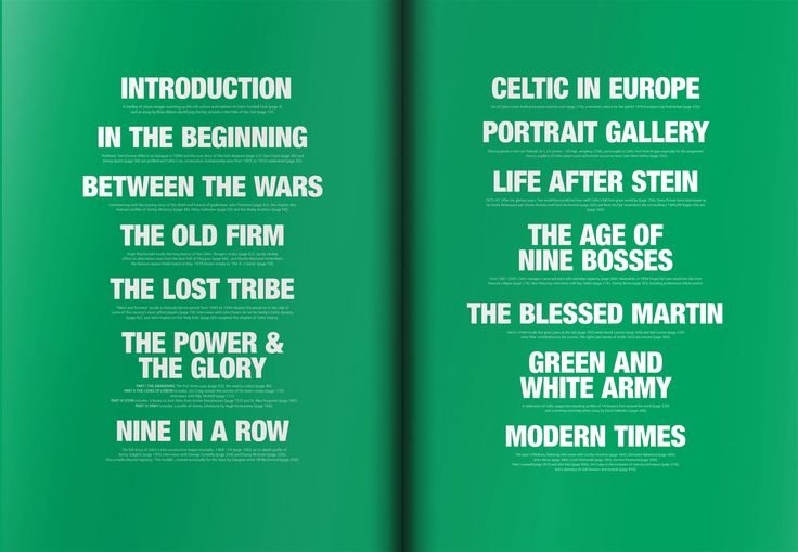 Contents - Celtic Football Club #book #design #layout