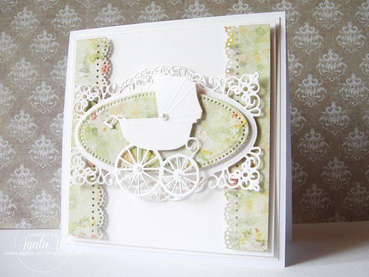 Kartka na chrzciny z wózeczkiem memory box