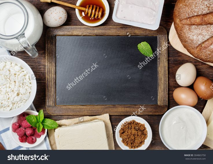 Healthy breakfast with natural dairy products. Vintage blackboard with copyspace  #304865750