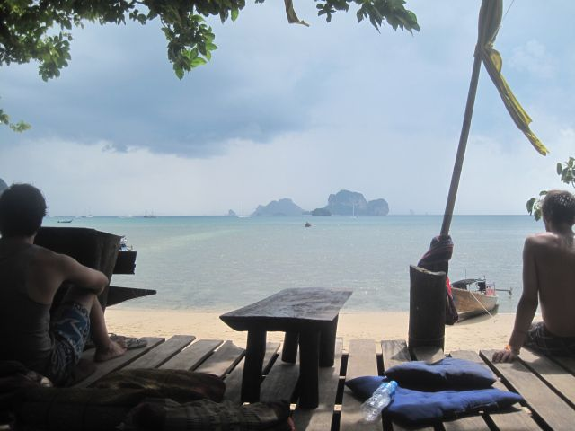 Nice coffee break at a beautiful beach in Thailand