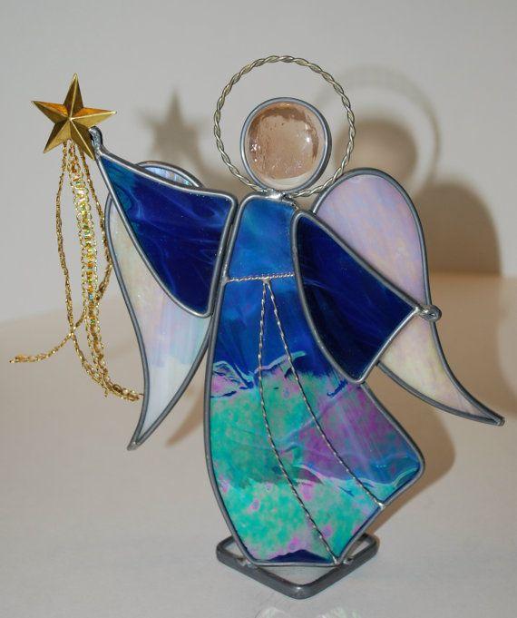 Stained Glass Standing Angel Cobalt Blue Wispy by DodgeGlassStudio, $39.00