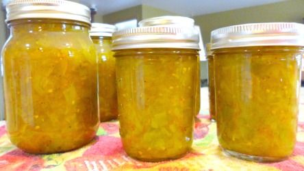 There are many relish recipes out there, but this green tomato relish is really good and easy to make and can.