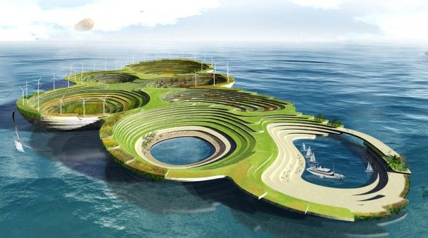 Aleksandar Joksimovic, Jelena Nikolic: ARC 2 a Sustainable Floating City  that can support all living species, from humans to animals and fish to plants and trees.