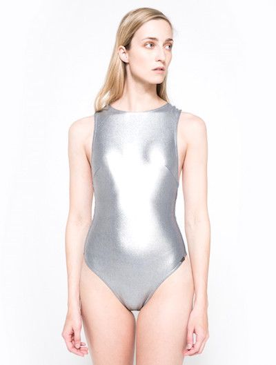 Prism, $302, needsupply.com- Going for Rocker Chic Metal kinda look? Rock it out in this metallic one piece! Perfect for swimming or even wear as a bodysuit #metallic #swimsuit #bodysuit