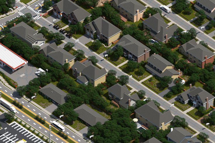 [Minecraft] Neighborhood by Yazur on deviantART